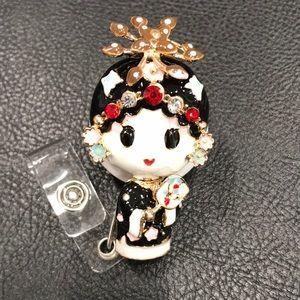 Japanese Girl badge reel
